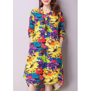 Casual Jewel Neck 3/4 Sleeves Color Block Dress For Women -