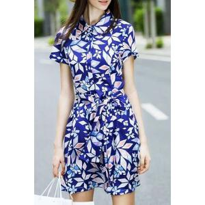 Geometrical Belted Shirt Dress - SAPPHIRE BLUE S