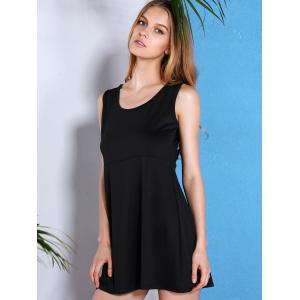 Simple Style U Neck Sleeveless Black Loose-Fitting Dress For Women -