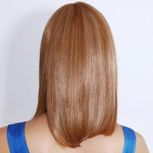 Human Hair Charming Medium Full Bang Straight Capless Wig -