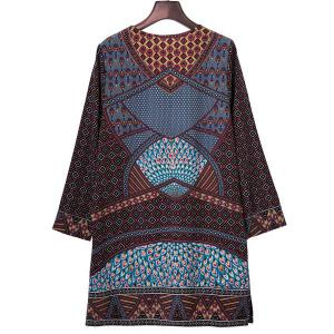 Stylish Women's Ethnic Print Geometrical Long Sleeve Dress -