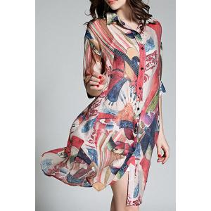 Long Buttoned Colorful Printed Shirt -