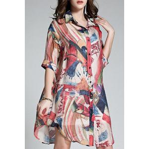 Long Buttoned Colorful Printed Shirt - Colormix - 3xl