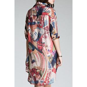 Long Buttoned Colorful Printed Shirt - COLORMIX L