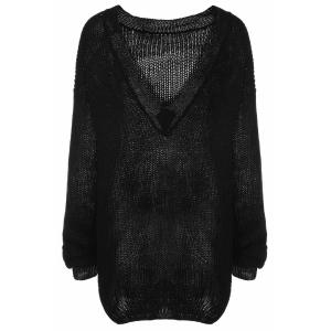 Trendy Scoop Collar Long Sleeve Black Loose-Fitting Women's Sweater