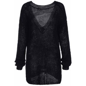 Trendy Scoop Collar Long Sleeve Black Loose-Fitting Women's Sweater - BLACK ONE SIZE(FIT SIZE XS TO M)