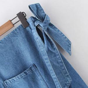 High Waist Raw Edge Denim Skirt -