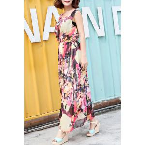 Trendy Round Collar Sleeveless Floral Print Pleated Women's Dress -