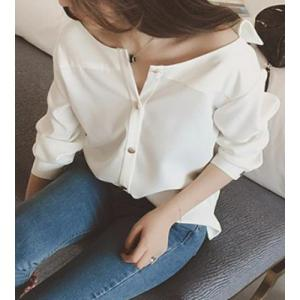 Brief Boat Neck Solid Color Long Sleeve Blouse For Women - WHITE L