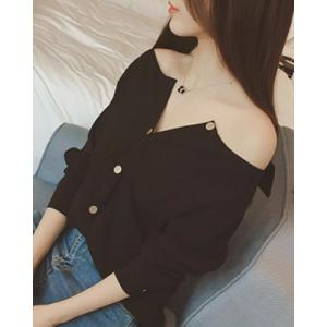 Brief Boat Neck Solid Color Long Sleeve Blouse For Women - BLACK M