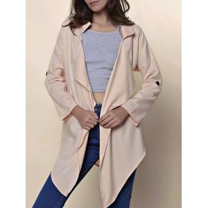 Stylish Turn-Down Collar 3/4 Sleeve Asymmetrical Chiffon Women's Coat - Khaki - M
