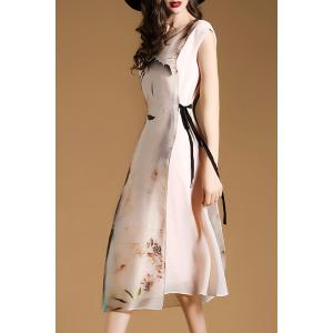 Stylish Scoop Neck Sleeveless Floral Print Asymmetrical Dress For Women - NUDE L