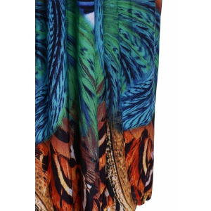 V Neck Printed Maxi Dress with Sleeves - COLORMIX 2XL