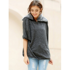 Fashionable Turtle Neck With Fur Loose-Fitting Batwing Sleeve Women's Sweater -
