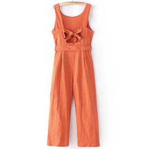Casual Round Collar Sleeveless Bowknot Waist Backless Jumpsuit For Women -