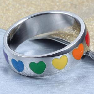 Vintage Titanium Steel Colored Heart Ring For Women - SILVER ONE-SIZE
