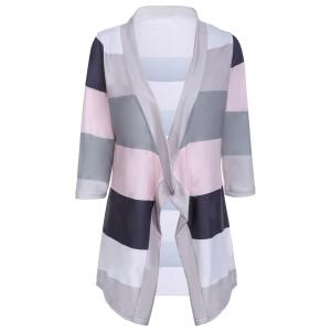 Stylish Collarless 3/4 Sleeve Striped Irregular Asymmetric Cardigan For Women - Gray - S