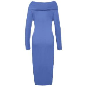 Off-The-Shoulder Long Sleeve Bodycon Midi Dress - BLUE S