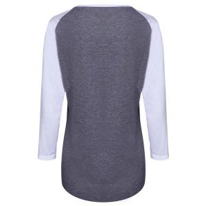 Casual Letter Printed 3/4 Sleeve Color Block Baseball T-Shirt For Women - GRAY S