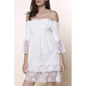 Off The Shoulder Lace Trim Short Dress
