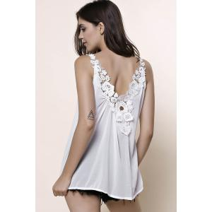 Stylish V-Neck Sleeveless Laciness Hollow Out Women's Tank Top - WHITE S