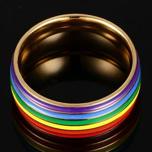 Vintage Titanium Steel Rainbow Color Ring - GOLDEN ONE-SIZE