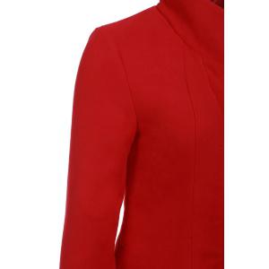 Stylish Stand-Up Collar Long Sleeve Flounced Solid Color Women's Coat -