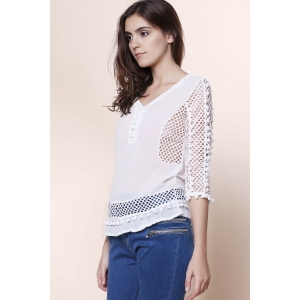 Elegant V-Neck Hollow Out Fuzzy Ball Decorated 3/4 Sleeve Blouse For Women - WHITE S