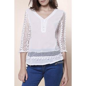 Elegant V-Neck Hollow Out Fuzzy Ball Decorated 3/4 Sleeve Blouse For Women - White - L
