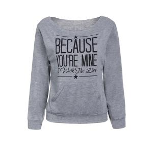 Casual Style Scoop Neck Long Sleeve Letter Print Women's T-Shirt - Gray - S