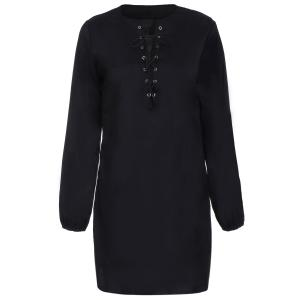 Alluring Long Sleeve Pure Color Hollow Out Women's Dress - Black - M