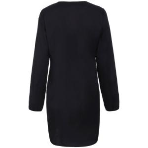 Alluring Long Sleeve Pure Color Hollow Out Women's Dress - BLACK XL