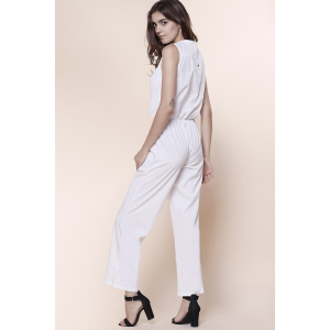 Stylish V-Neck Sleeveless Button Design Wide Leg Women's Jumpsuit - OFF-WHITE M