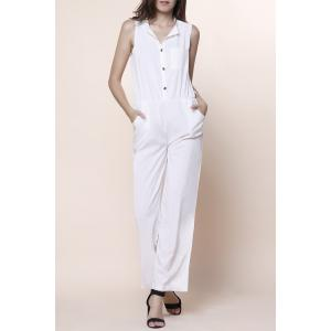 Stylish V-Neck Sleeveless Button Design Wide Leg Women's Jumpsuit