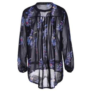 Stylish Keyhole Neck Long Sleeve Floral Print Women's Chiffon Blouse -