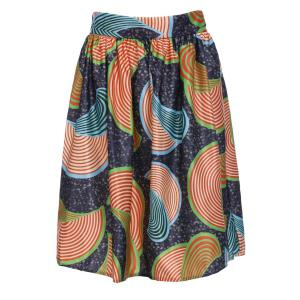 Printed High Waist A Line Skirt - Colormix - Xl