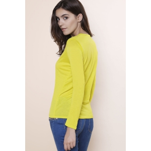 Sexy Plunging Neckline Solid Color Long Sleeves T-Shirt For Women - YELLOW S