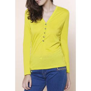 Sexy Plunging Neckline Solid Color Long Sleeves T-Shirt For Women