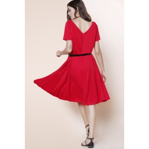 Vintage Solid Color V-Neck High Waist Ball Flare Dress For Women - RED XL