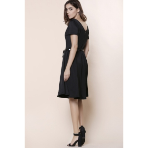 Vintage Solid Color V-Neck High Waist Ball Flare Dress For Women - BLACK 2XL