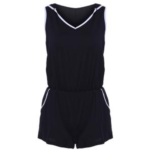 Sports Hooded Sleeveless Romper with Pockets
