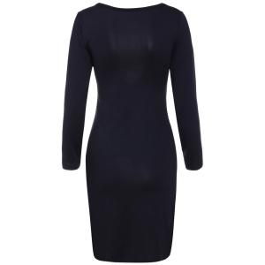 See-Through Long Sleeve Plain Bodycon Plunge Dress - BLACK S