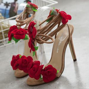 Stylish Lace-Up and Flowers Design Sandals For Women -