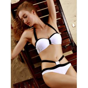 Halter Sexy Hit Bikini Set Couleur Cut Out Femmes - Blanc L