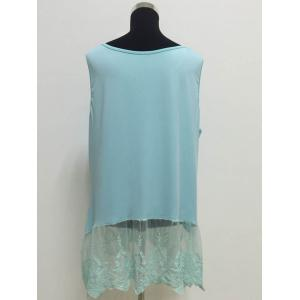 Elegant Scoop Neck Sleeveless Lace Splicing Pus Size Top For Women -