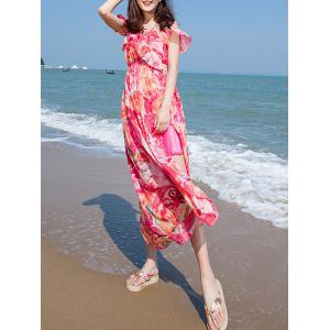Flounce Cold Shoulder Floral Maxi Swing Beachwear Dress