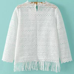 Casual Round Collar 3/4 Sleeve Hollow Out Fringe T-Shirt For Women -