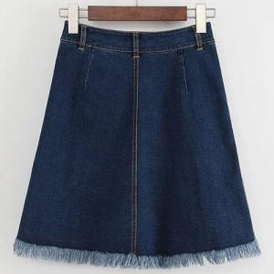 Sweet High-Waisted Button Embellished Fringe Women's Skirt -