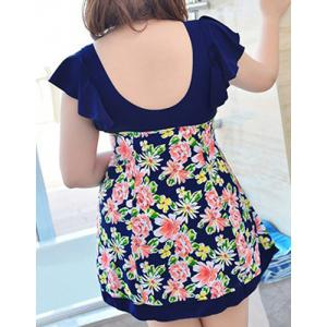 Chic Plunging Neck Floral Print Backless Two Piece Women's Swimsuit -