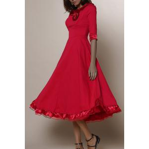 Midi A Line Flounce Swing Evening Dress